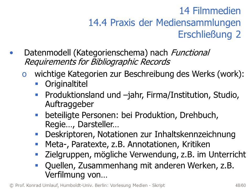 © Prof. Konrad Umlauf, Humboldt-Univ. Berlin: Vorlesung Medien - Skript 48/60 Datenmodell (Kategorienschema) nach Functional Requirements for Bibliogr