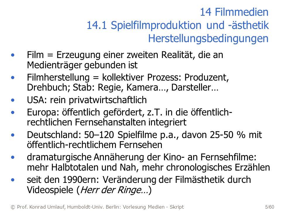 © Prof. Konrad Umlauf, Humboldt-Univ. Berlin: Vorlesung Medien - Skript 5/60 14 Filmmedien 14.1 Spielfilmproduktion und -ästhetik Herstellungsbedingun