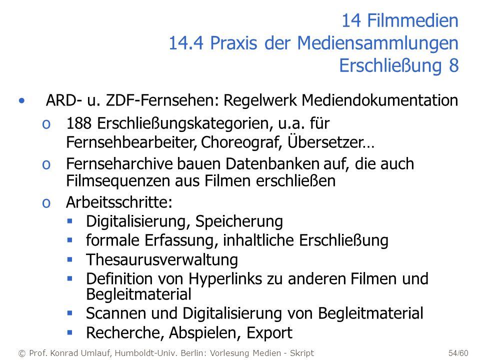 © Prof. Konrad Umlauf, Humboldt-Univ. Berlin: Vorlesung Medien - Skript 54/60 ARD- u. ZDF-Fernsehen: Regelwerk Mediendokumentation o188 Erschließungsk