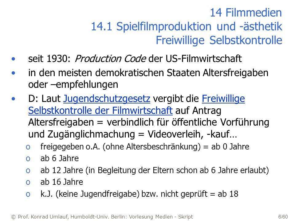 © Prof. Konrad Umlauf, Humboldt-Univ. Berlin: Vorlesung Medien - Skript 6/60 14 Filmmedien 14.1 Spielfilmproduktion und -ästhetik Freiwillige Selbstko
