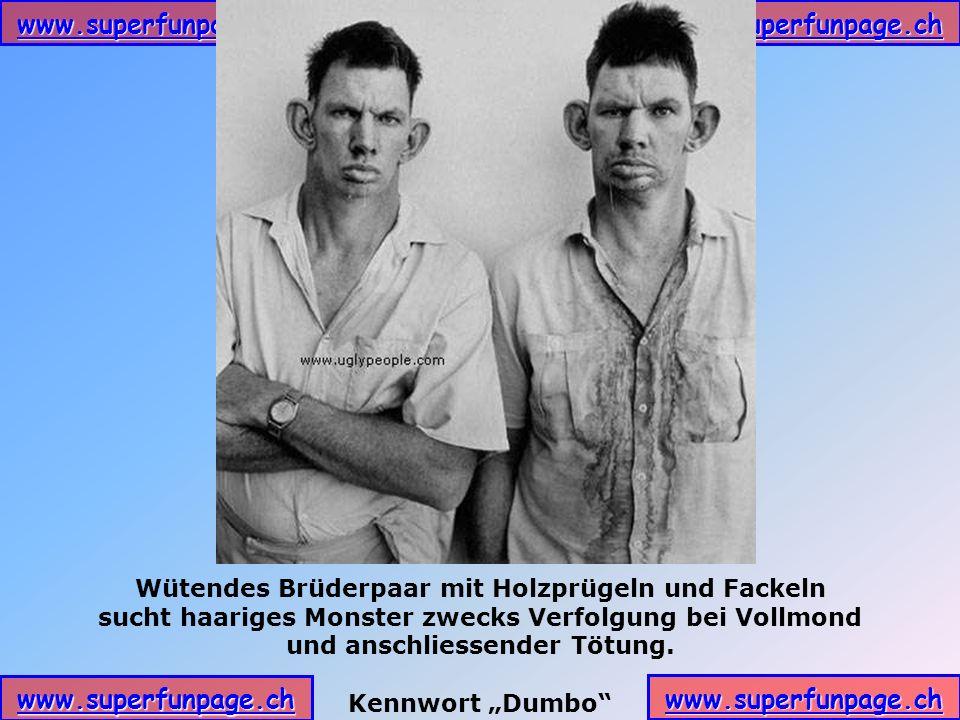 www.superfunpage.ch Wütendes Brüderpaar mit Holzprügeln und Fackeln sucht haariges Monster zwecks Verfolgung bei Vollmond und anschliessender Tötung.