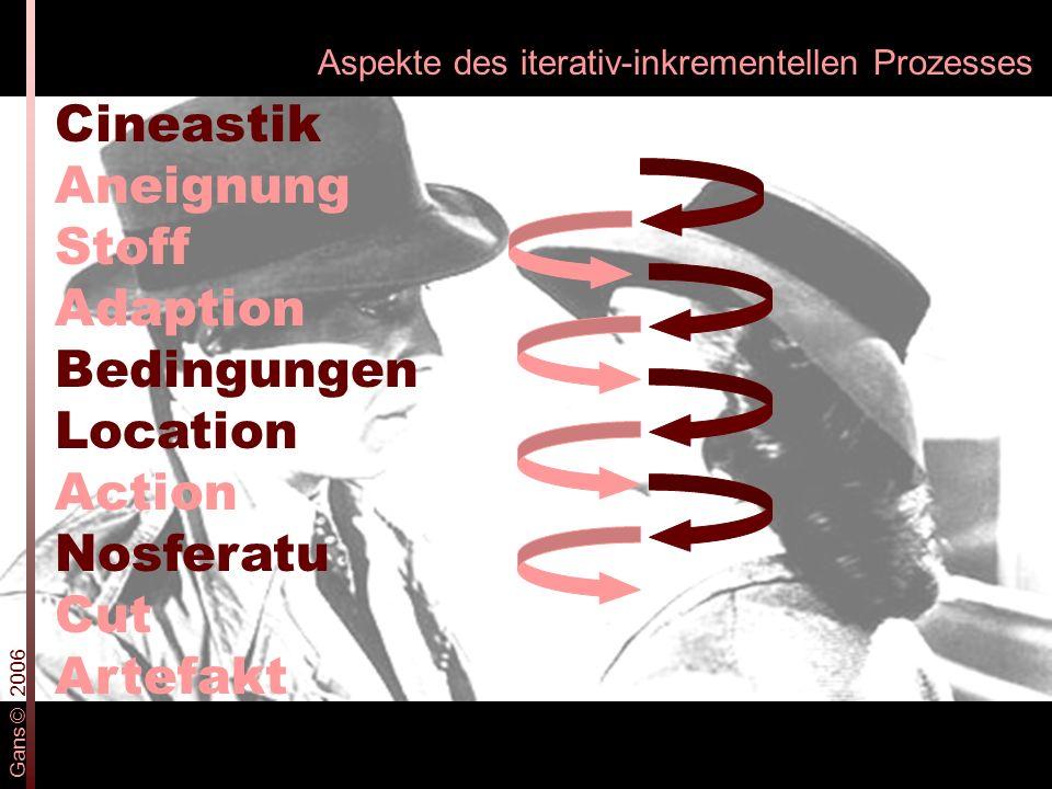 Aspekte des iterativ-inkrementellen Prozesses Cineastik Aneignung Stoff Adaption Bedingungen Location Action Nosferatu Cut Artefakt Gans © 2006