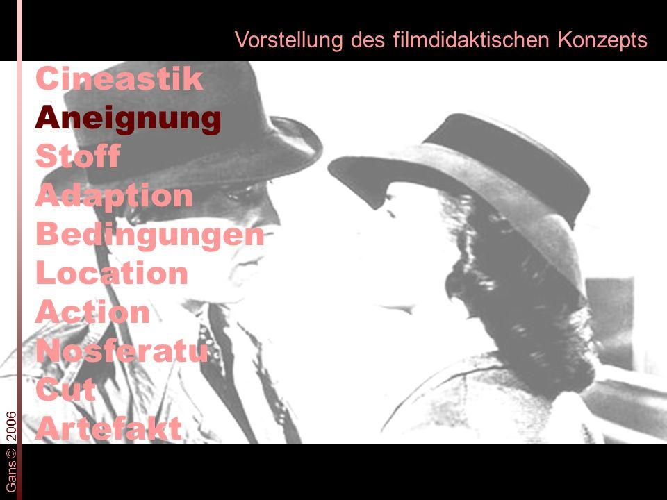 Vorstellung des filmdidaktischen Konzepts Cineastik Aneignung Stoff Adaption Bedingungen Location Action Nosferatu Cut Artefakt Gans © 2006