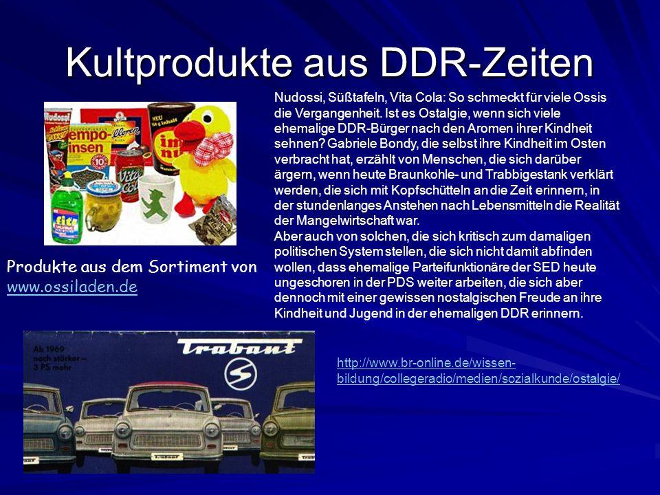 Kultprodukte aus DDR-Zeiten Produkte aus dem Sortiment von www.ossiladen.de Nudossi, Süßtafeln, Vita Cola: So schmeckt für viele Ossis die Vergangenhe