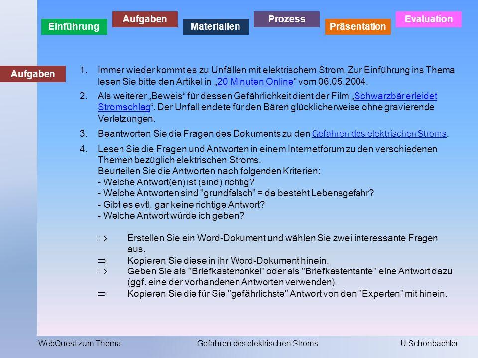 Einführung Aufgaben Materialien Prozess Präsentation Evaluation WebQuest zum Thema:Gefahren des elektrischen StromsU.Schönbächler Materialien 1.Lernprogramm der suva zum Umgang mit elektrischem Strom.