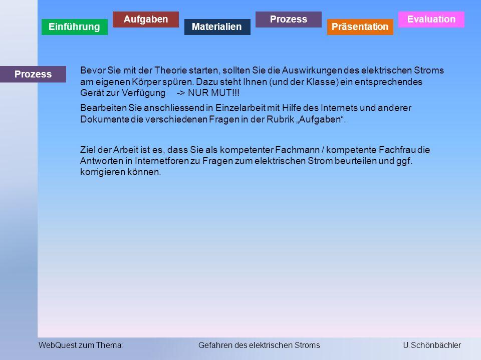 Einführung Aufgaben Materialien Prozess Präsentation Evaluation WebQuest zum Thema:Gefahren des elektrischen StromsU.Schönbächler Präsentation 1.Sie können Ihre Arbeit zu den Arbeitsblättern selbständig kontrollieren mit Hilfe der Musterlösung.