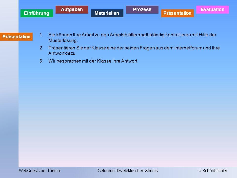 Einführung Aufgaben Materialien Prozess Präsentation Evaluation WebQuest zum Thema:Gefahren des elektrischen StromsU.Schönbächler Evaluation Ihr Wissen zu diesem Thema wird in einem benoteten Test überprüft!