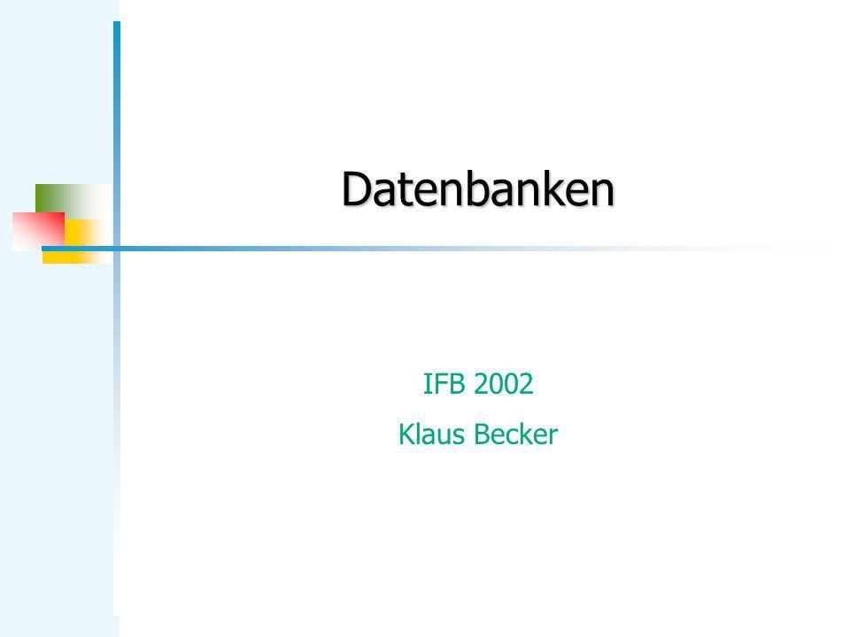 KB Datenbanken 12 Tabellenspezifikation Leser: Das logische Schema einer Tabelle wird durch eine endliche Menge von Attributspezifikationen (Attributname; Datentyp) festgelegt.