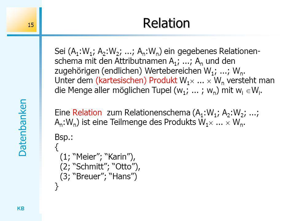 KB Datenbanken 15 Relation Sei (A 1 :W 1 ; A 2 :W 2 ;...; A n :W n ) ein gegebenes Relationen- schema mit den Attributnamen A 1 ;...; A n und den zuge