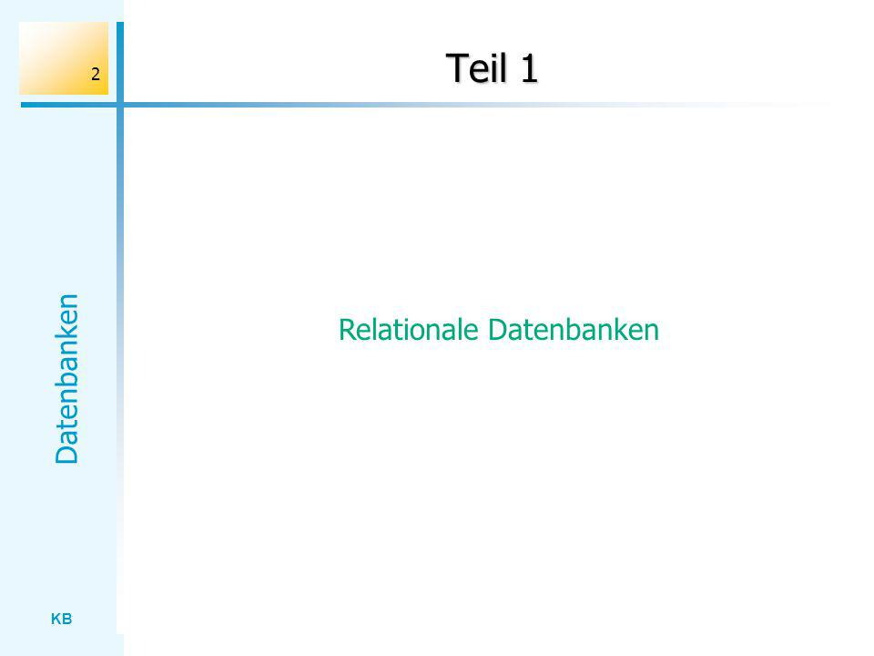 KB Datenbanken 2 Teil 1 Relationale Datenbanken