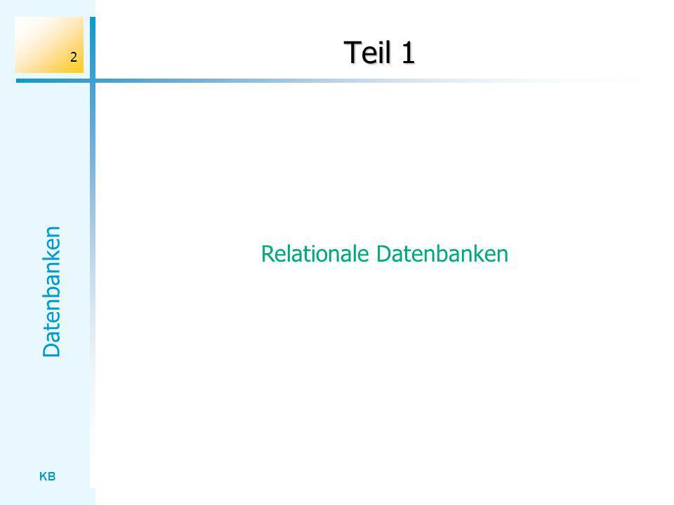 KB Datenbanken 13 Datentypen / Datenstrukturen Ein Datentyp legt einen Wertebereich fest einschließlich der Operationen, die auf die Werte angewandt werden dürfen.