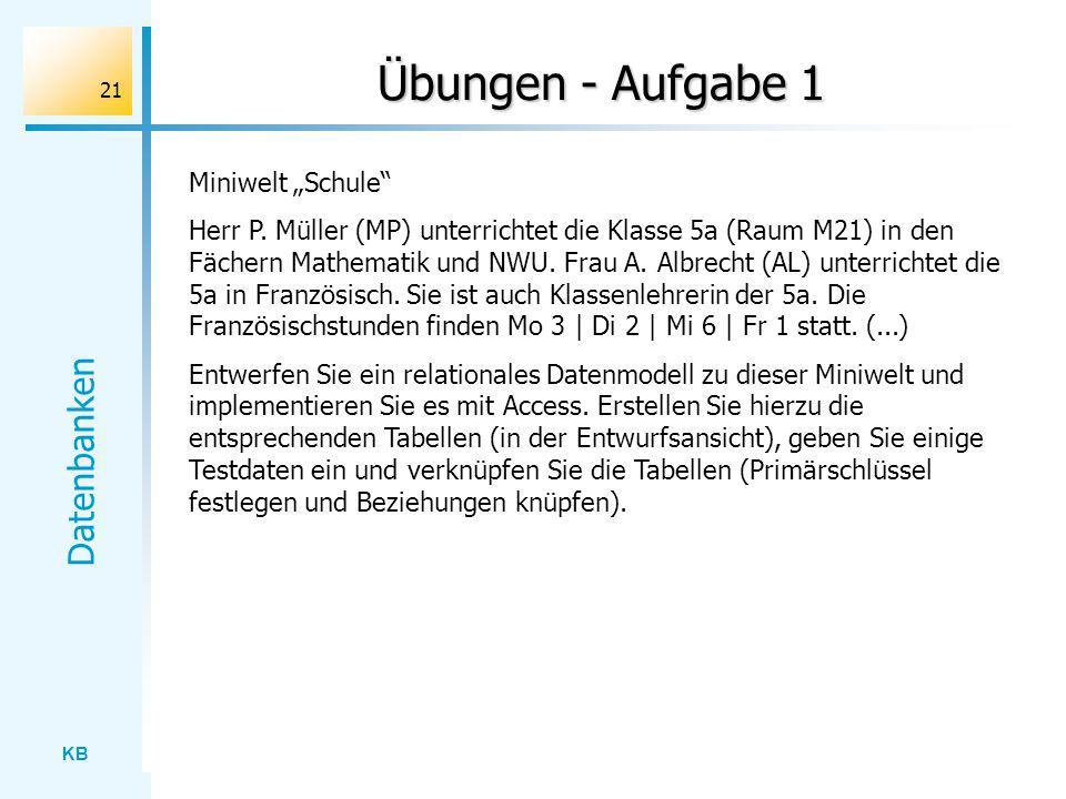 KB Datenbanken 21 Übungen - Aufgabe 1 Miniwelt Schule Herr P. Müller (MP) unterrichtet die Klasse 5a (Raum M21) in den Fächern Mathematik und NWU. Fra