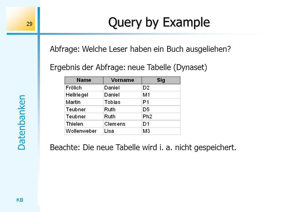 KB Datenbanken 29 Query by Example Abfrage: Welche Leser haben ein Buch ausgeliehen? Ergebnis der Abfrage: neue Tabelle (Dynaset) Beachte: Die neue Ta