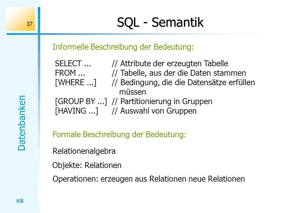 KB Datenbanken 37 SQL - Semantik SELECT...// Attribute der erzeugten Tabelle FROM...// Tabelle, aus der die Daten stammen [WHERE...]// Bedingung, die