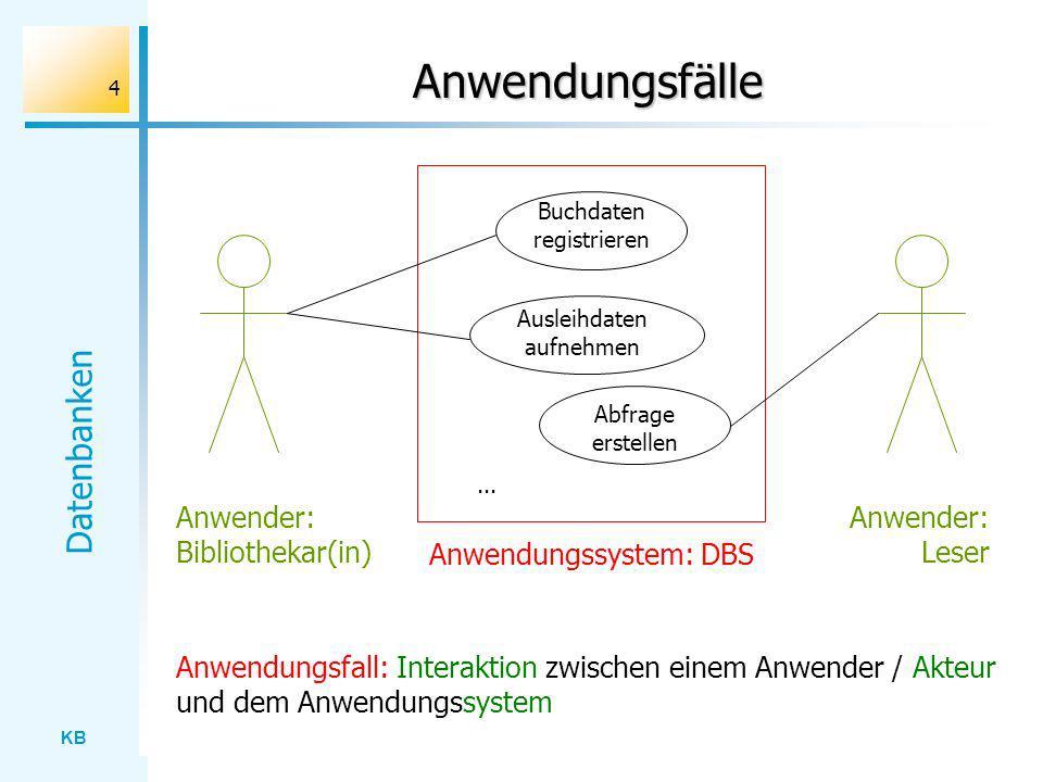 KB Datenbanken 45 Verbund Ausgangsrelationen: Buch, Ausleihe LNrSigDatum 4D229.10.01 8M103.11.01...