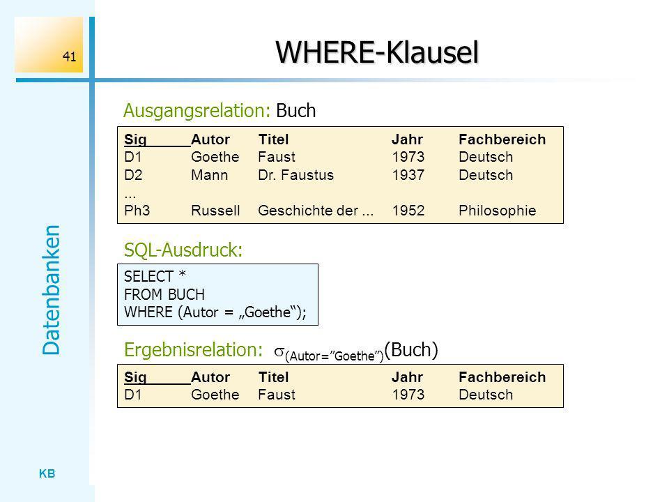 KB Datenbanken 41 WHERE-Klausel Ausgangsrelation: Buch SigAutorTitelJahrFachbereich D1GoetheFaust1973Deutsch D2MannDr. Faustus1937Deutsch... Ph3Russel