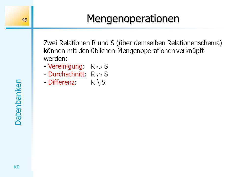 KB Datenbanken 46 Mengenoperationen Zwei Relationen R und S (über demselben Relationenschema) können mit den üblichen Mengenoperationen verknüpft werd