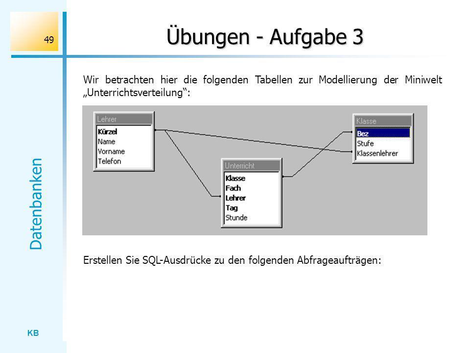 KB Datenbanken 49 Übungen - Aufgabe 3 Wir betrachten hier die folgenden Tabellen zur Modellierung der Miniwelt Unterrichtsverteilung: Erstellen Sie SQ