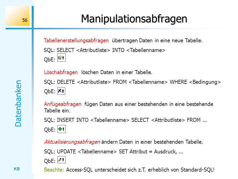 KB Datenbanken 56 Manipulationsabfragen Tabellenerstellungsabfragen übertragen Daten in eine neue Tabelle. SQL: SELECT INTO QbE: Löschabfragen löschen
