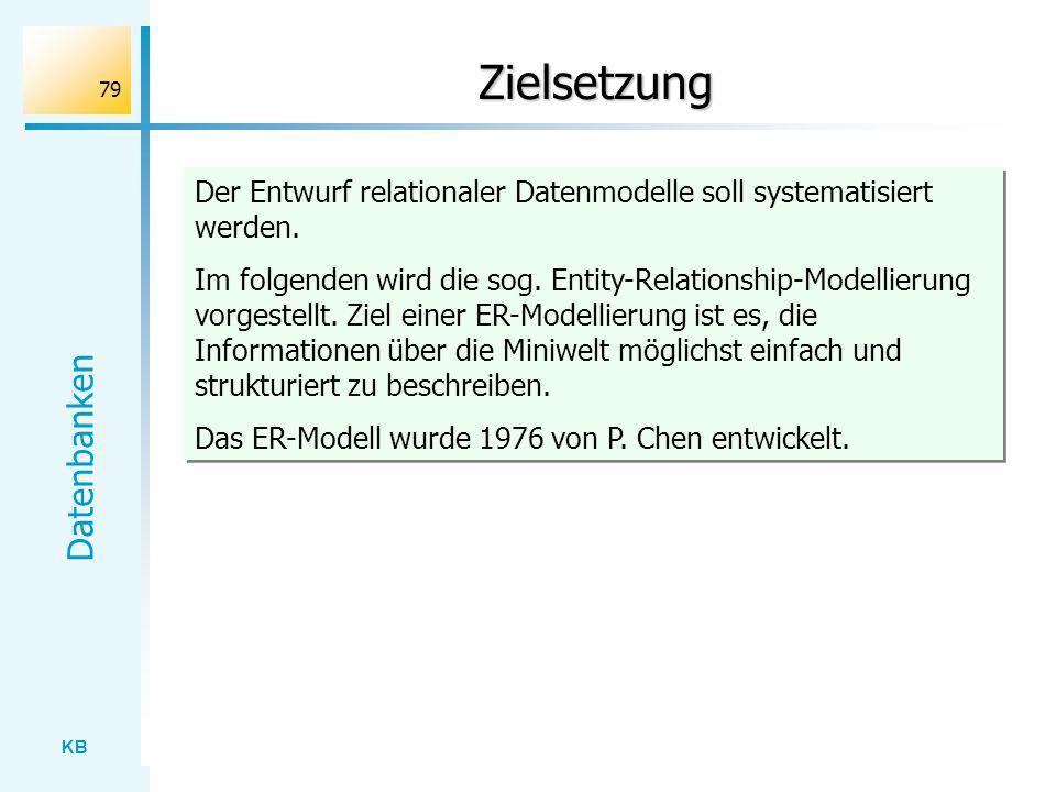 KB Datenbanken 79 Zielsetzung Der Entwurf relationaler Datenmodelle soll systematisiert werden. Im folgenden wird die sog. Entity-Relationship-Modelli