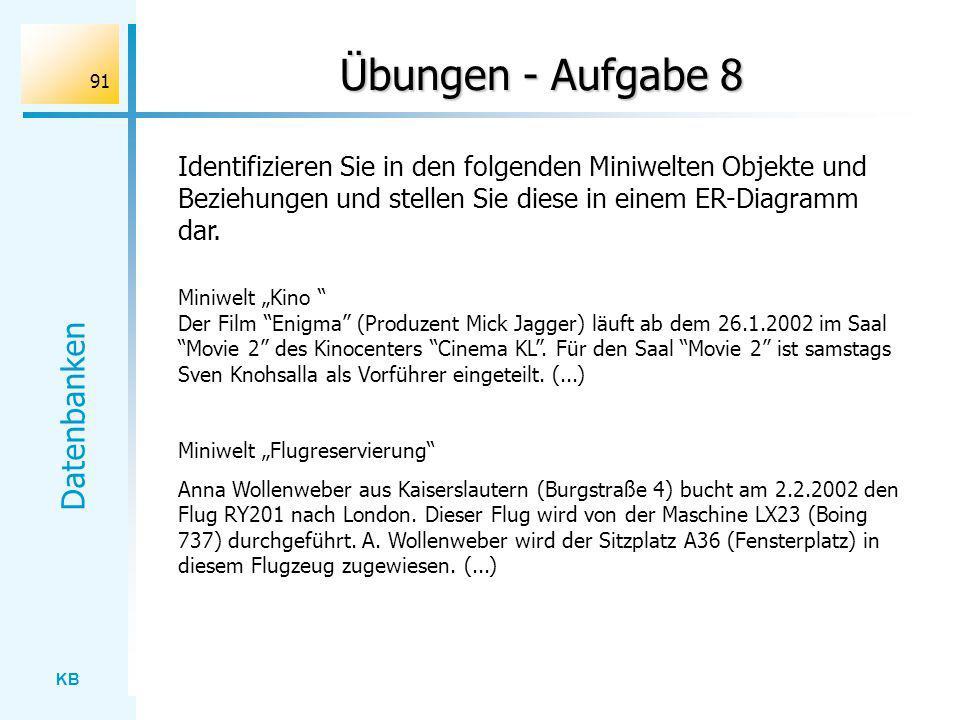 KB Datenbanken 91 Übungen - Aufgabe 8 Miniwelt Kino Der Film Enigma (Produzent Mick Jagger) läuft ab dem 26.1.2002 im Saal Movie 2 des Kinocenters Cin