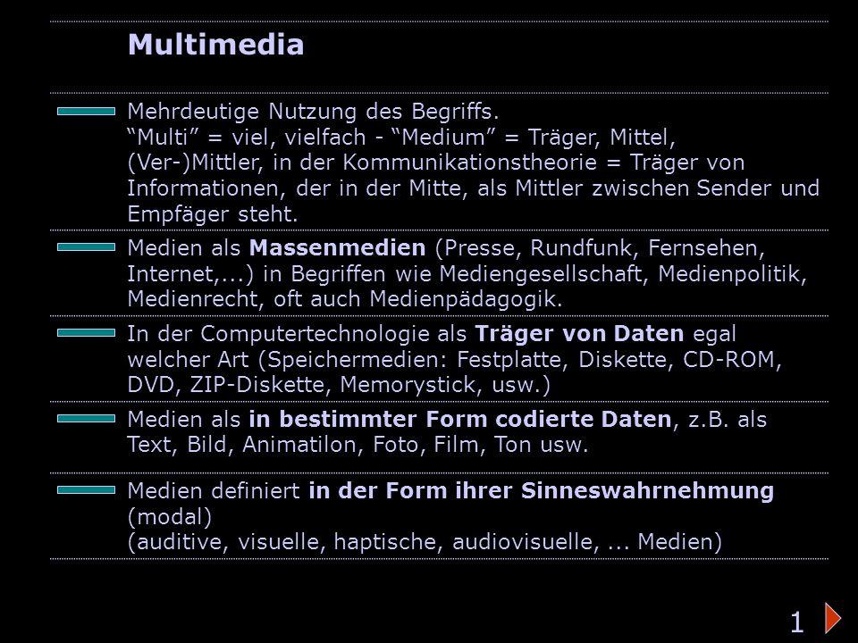 Bedeutung des Wortes 2 Multimedia Multimedia als Verbindung von jeweils mindestens einem zeitabhängig (Film, Ton, Animation,…) und einem zeitunabhängig (Text, Grafik, Foto,…) codierten Medium auf der Basis binärer Computerdaten und einer vom Benutzer steuerbaren Oberfläche.