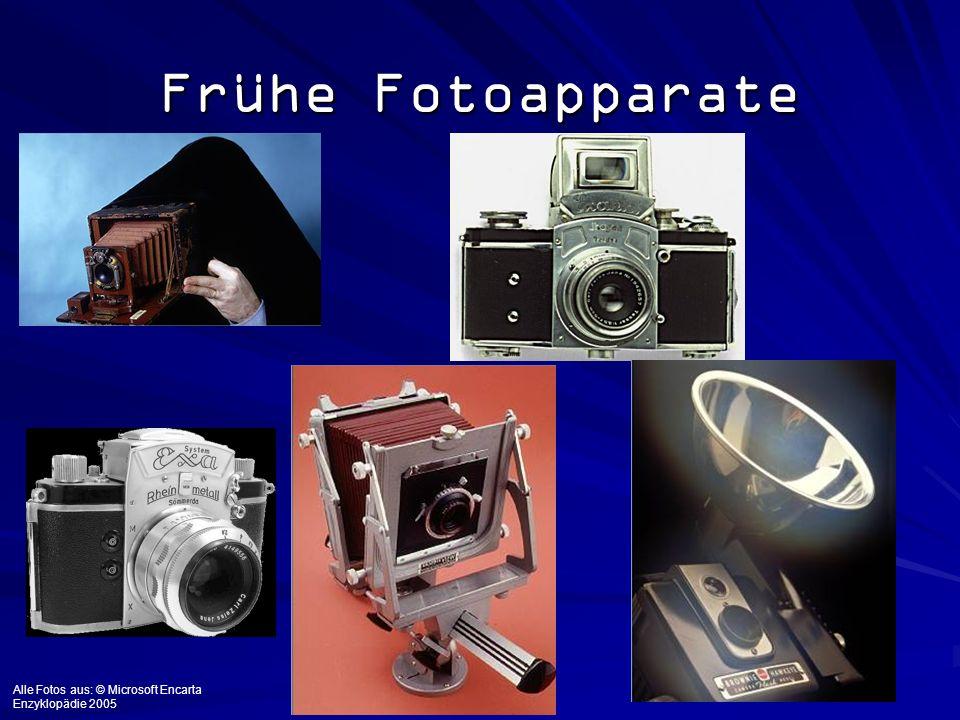 Frühe Fotoapparate Alle Fotos aus: © Microsoft Encarta Enzyklopädie 2005