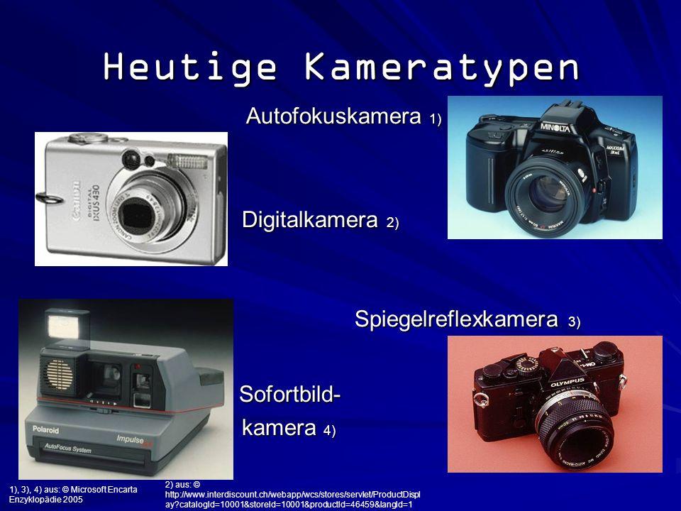 Heutige Kameratypen Autofokuskamera 1) Autofokuskamera 1) Digitalkamera 2) Digitalkamera 2) Spiegelreflexkamera 3) Spiegelreflexkamera 3) Sofortbild-
