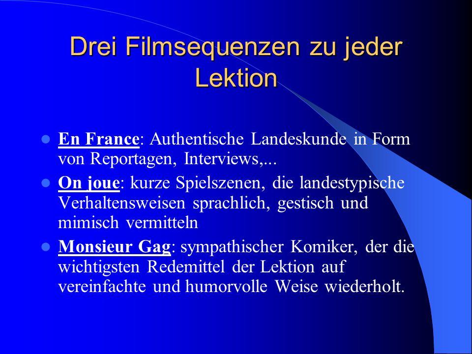 Drei Filmsequenzen zu jeder Lektion En France: Authentische Landeskunde in Form von Reportagen, Interviews,...