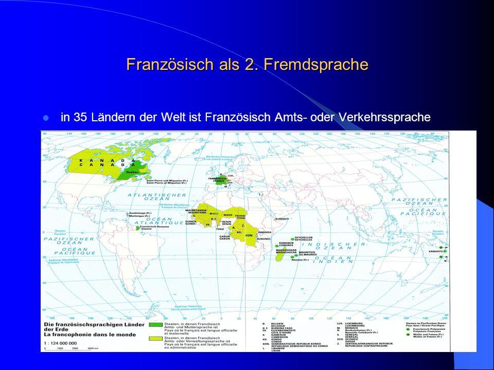 Französisch als 2. Fremdsprache in 35 Ländern der Welt ist Französisch Amts- oder Verkehrssprache