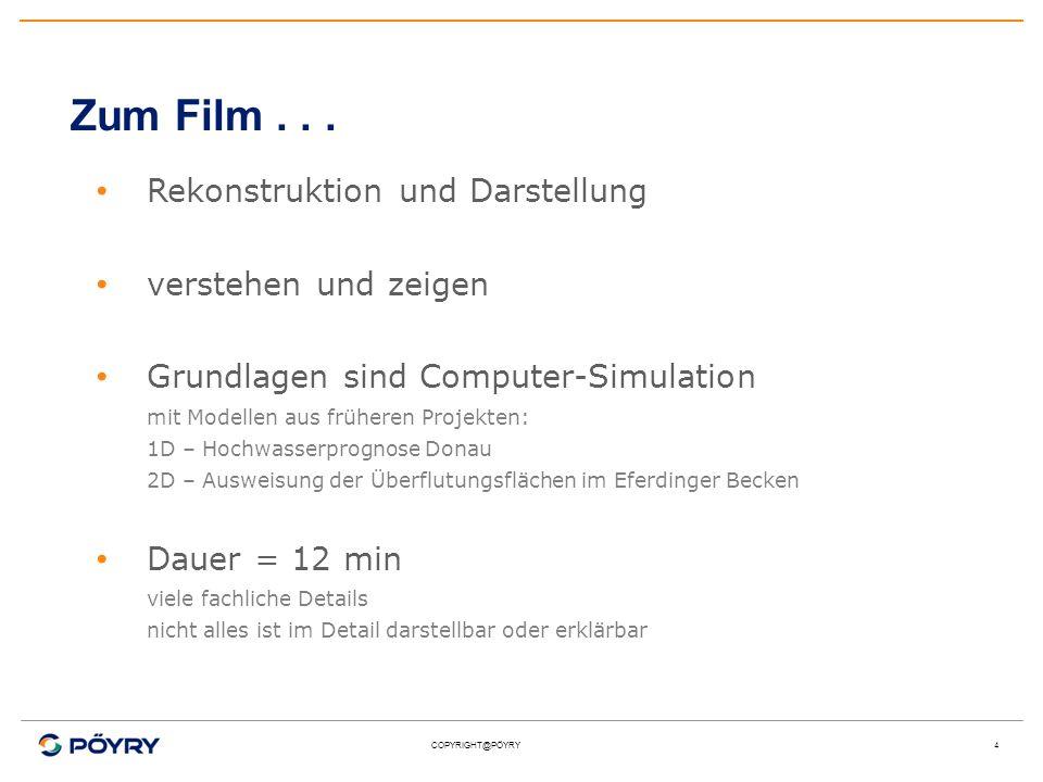 COPYRIGHT@PÖYRY4 Zum Film... Rekonstruktion und Darstellung verstehen und zeigen Grundlagen sind Computer-Simulation mit Modellen aus früheren Projekt