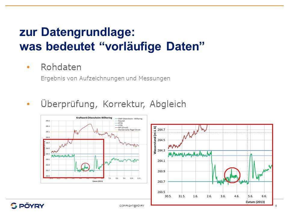 COPYRIGHT@PÖYRY6 zur Datengrundlage: was bedeutet vorläufige Daten Rohdaten Ergebnis von Aufzeichnungen und Messungen Überprüfung, Korrektur, Abgleich