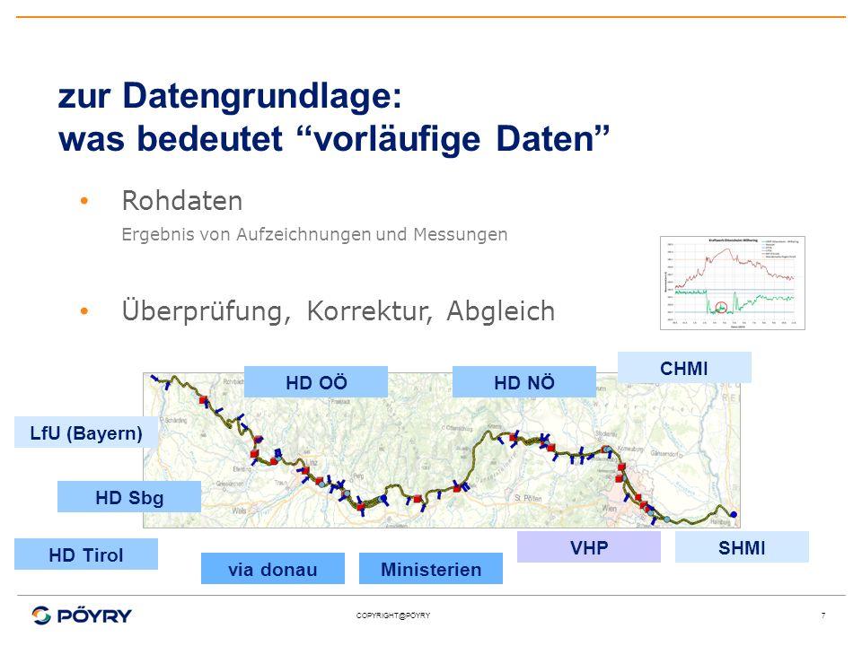 COPYRIGHT@PÖYRY7 zur Datengrundlage: was bedeutet vorläufige Daten Rohdaten Ergebnis von Aufzeichnungen und Messungen Überprüfung, Korrektur, Abgleich