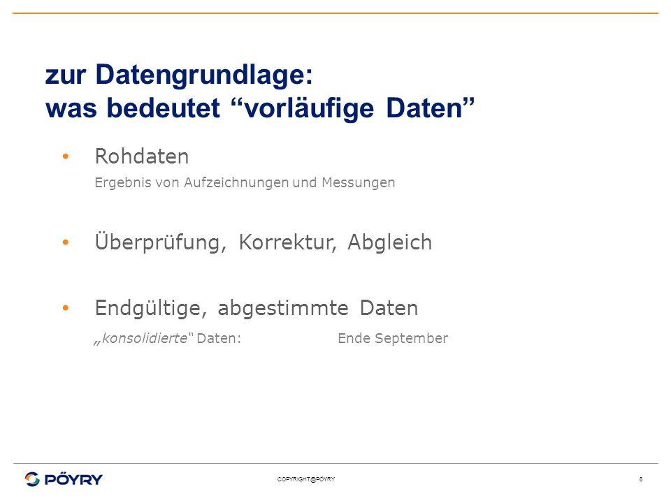 COPYRIGHT@PÖYRY8 zur Datengrundlage: was bedeutet vorläufige Daten Rohdaten Ergebnis von Aufzeichnungen und Messungen Überprüfung, Korrektur, Abgleich