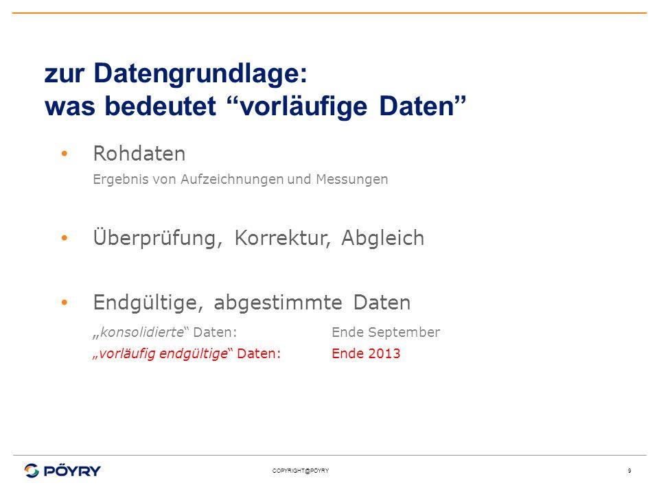 COPYRIGHT@PÖYRY9 zur Datengrundlage: was bedeutet vorläufige Daten Rohdaten Ergebnis von Aufzeichnungen und Messungen Überprüfung, Korrektur, Abgleich