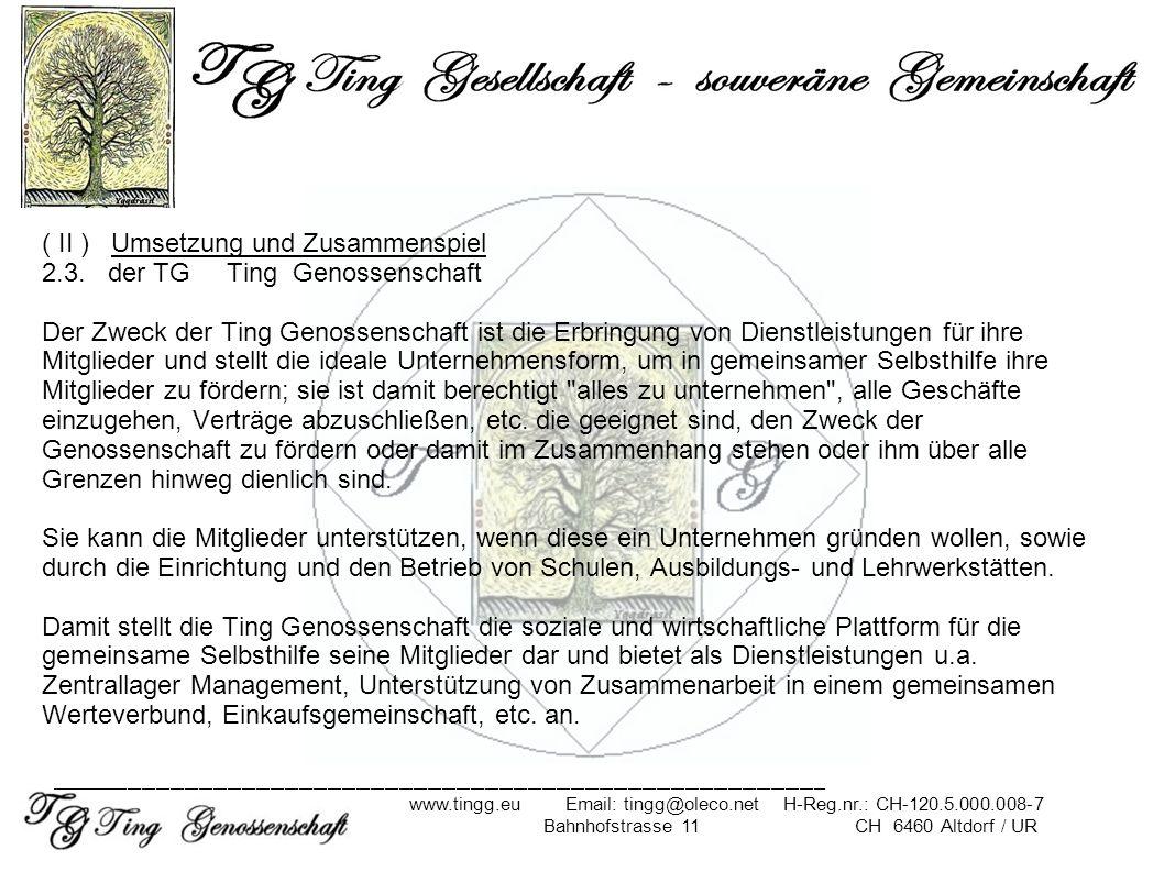 ( II ) Umsetzung und Zusammenspiel 2.3. der TG Ting Genossenschaft Der Zweck der Ting Genossenschaft ist die Erbringung von Dienstleistungen für ihre