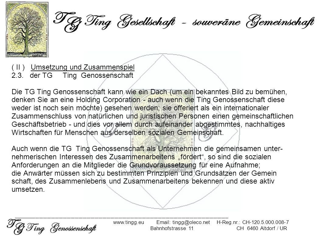 ( II ) Umsetzung und Zusammenspiel 2.3. der TG Ting Genossenschaft Die TG Ting Genossenschaft kann wie ein Dach (um ein bekanntes Bild zu bemühen, den