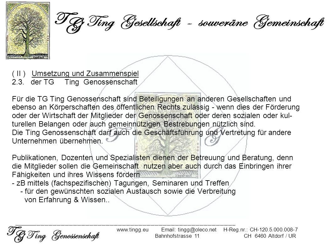 ( II ) Umsetzung und Zusammenspiel 2.3. der TG Ting Genossenschaft Für die TG Ting Genossenschaft sind Beteiligungen an anderen Gesellschaften und ebe