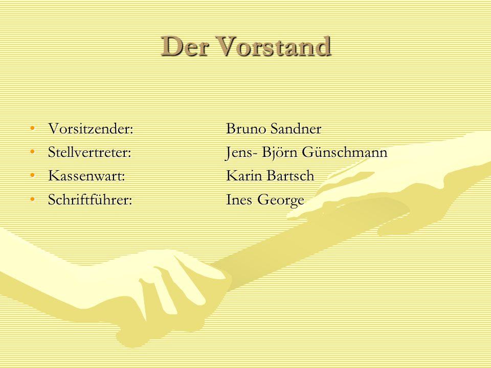 Der Vorstand Vorsitzender: Bruno SandnerVorsitzender: Bruno Sandner Stellvertreter: Jens- Björn GünschmannStellvertreter: Jens- Björn Günschmann Kasse