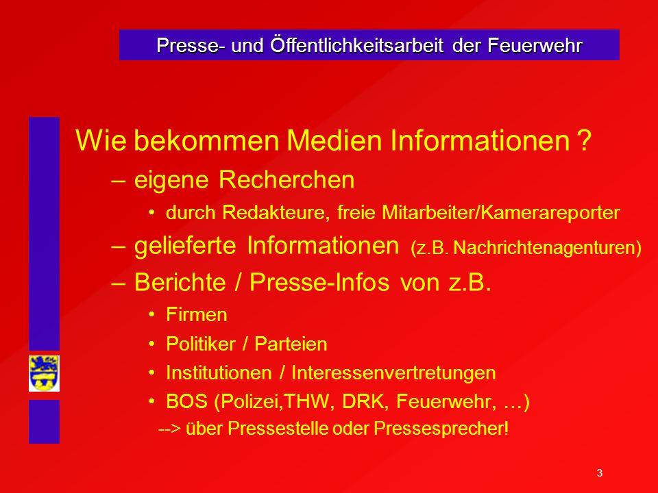 3 Presse- und Öffentlichkeitsarbeit der Feuerwehr Wie bekommen Medien Informationen ? –eigene Recherchen durch Redakteure, freie Mitarbeiter/Kamerarep