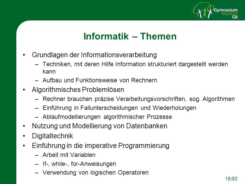 16/50 Informatik – Themen Grundlagen der Informationsverarbeitung –Techniken, mit deren Hilfe Information strukturiert dargestellt werden kann –Aufbau