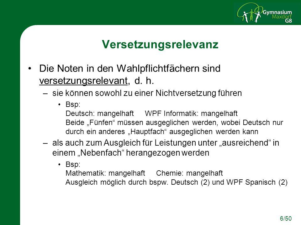 17/50 Voraussetzungen für das Fach Informatik Für das WPF Informatik ist geeignet, wer Lust am Problemlösen und Knobeln hat.