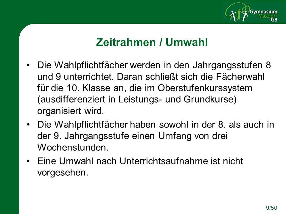 10/50 Fremdsprachenfolge Das Wahlpflichtfach bietet die letzte Möglichkeit, eine dritte Fremdsprache zu belegen.