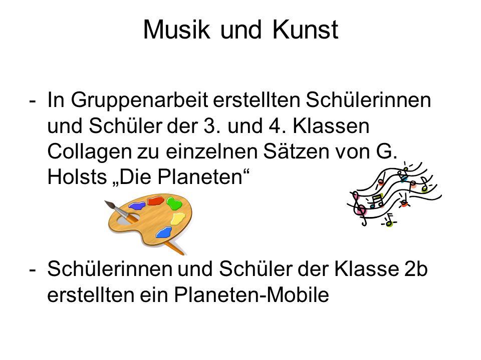 Musik und Kunst -In Gruppenarbeit erstellten Schülerinnen und Schüler der 3. und 4. Klassen Collagen zu einzelnen Sätzen von G. Holsts Die Planeten -S