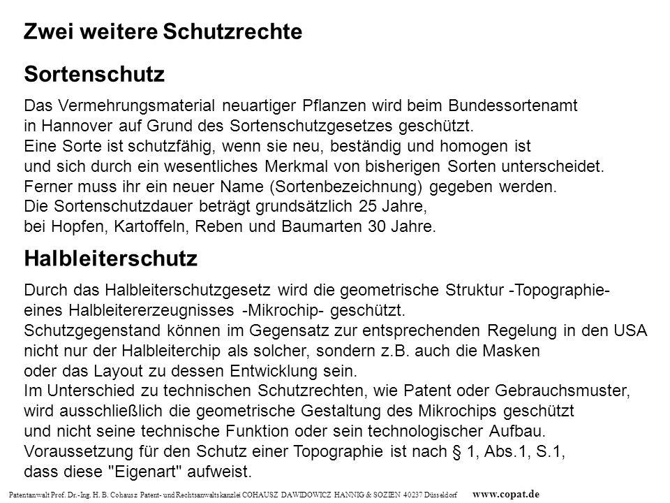 Patentanwalt Prof. Dr.-Ing. H. B. Cohausz Patent- und Rechtsanwaltskanzlei COHAUSZ DAWIDOWICZ HANNIG & SOZIEN 40237 Düsseldorf www.copat.de Zwei weite