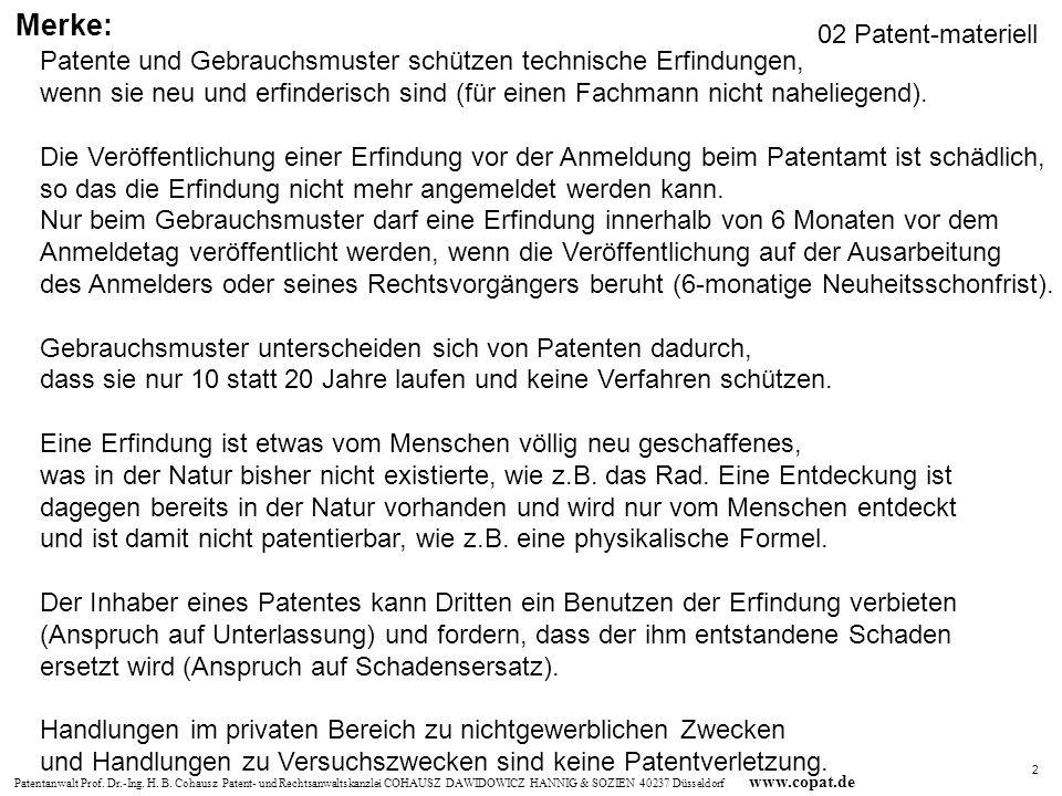 Patentanwalt Prof. Dr.-Ing. H. B. Cohausz Patent- und Rechtsanwaltskanzlei COHAUSZ DAWIDOWICZ HANNIG & SOZIEN 40237 Düsseldorf www.copat.de Patente un
