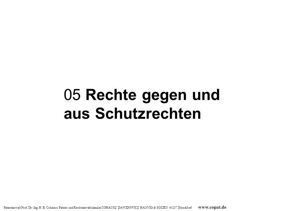 Patentanwalt Prof. Dr.-Ing. H. B. Cohausz Patent- und Rechtsanwaltskanzlei COHAUSZ DAWIDOWICZ HANNIG & SOZIEN 40237 Düsseldorf www.copat.de 05 Rechte