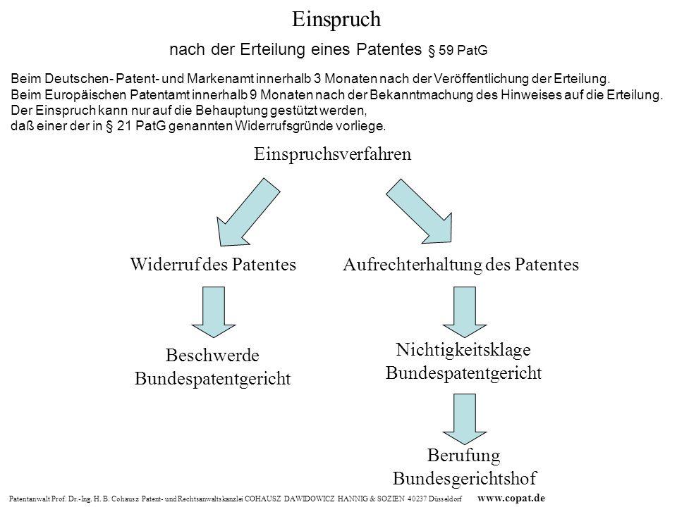 Patentanwalt Prof. Dr.-Ing. H. B. Cohausz Patent- und Rechtsanwaltskanzlei COHAUSZ DAWIDOWICZ HANNIG & SOZIEN 40237 Düsseldorf www.copat.de Aufrechter