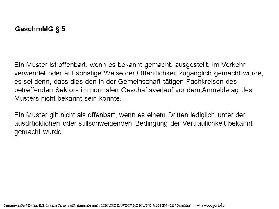 Patentanwalt Prof. Dr.-Ing. H. B. Cohausz Patent- und Rechtsanwaltskanzlei COHAUSZ DAWIDOWICZ HANNIG & SOZIEN 40237 Düsseldorf www.copat.de Ein Muster