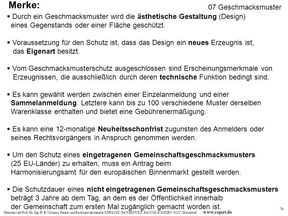 Patentanwalt Prof. Dr.-Ing. H. B. Cohausz Patent- und Rechtsanwaltskanzlei COHAUSZ DAWIDOWICZ HANNIG & SOZIEN 40237 Düsseldorf www.copat.de Durch ein